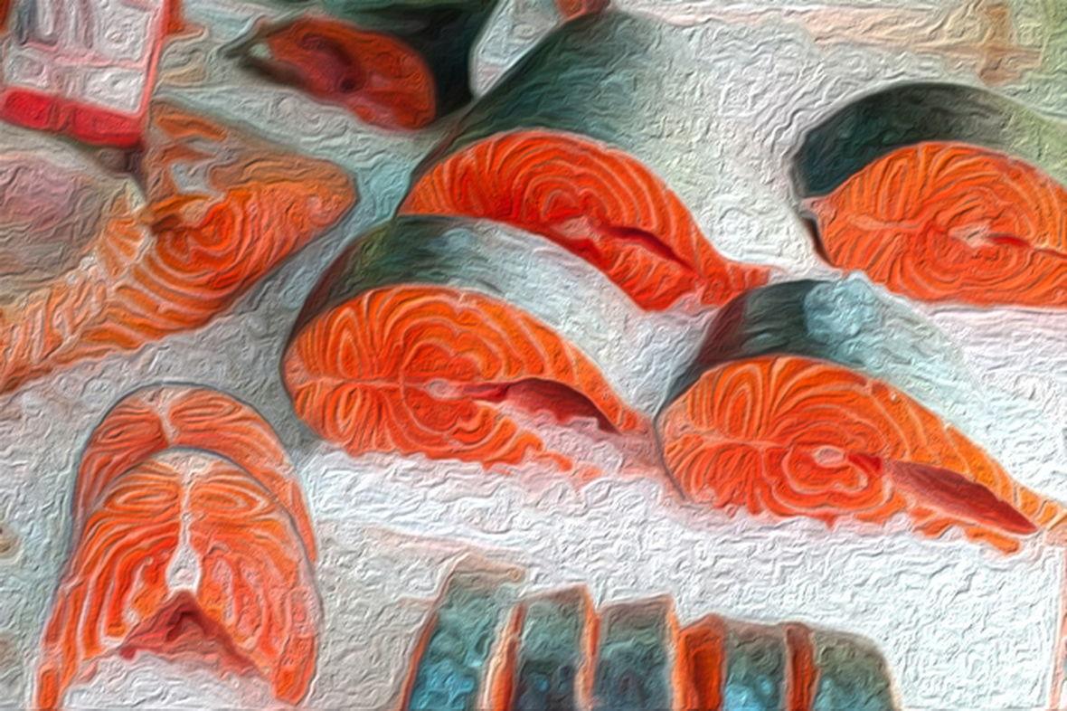охлажденная красная рыба в рыбном магазине