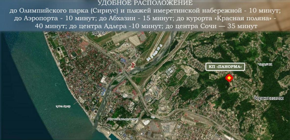"""Удобное расположение: до Олимпийского парка (Сириус) и пляжей имеретинской набережной - 10 минут, до Аэропорта - 10 минут, до Абхазии - 15 минут, до курорта """"Красная поляна"""" - 40 минут, до центра Адлера 10 минут, до центра Сочи 35 минут"""